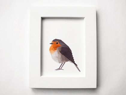 Red+Robin+2,+Geometric+bird+print,+Original+illustration