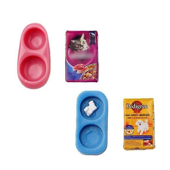 Miniature Accessories Mini Dog Cat Pet Food Plate Simulation