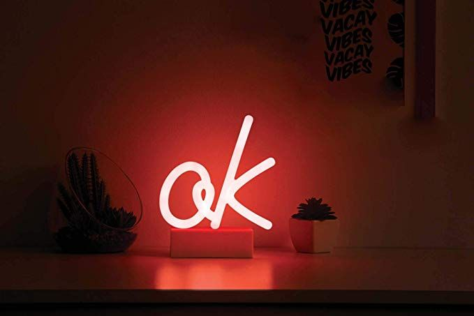 Merkury Innovations 7 Inch Led Neon Red Ok Sign Night Light Mood Light With Pedestal Battery Operated Wall Art Be Neon Signs Neon Sign Bedroom Mood Light