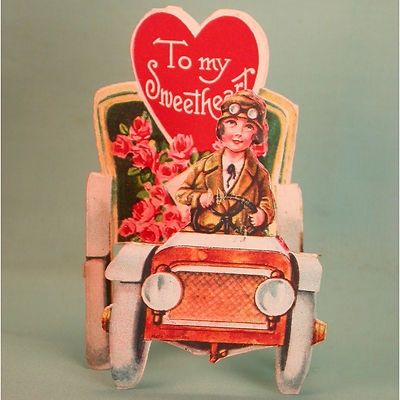 Vintage Valentine's Day Card 1920s Standing Car Filled with Roses | eBay