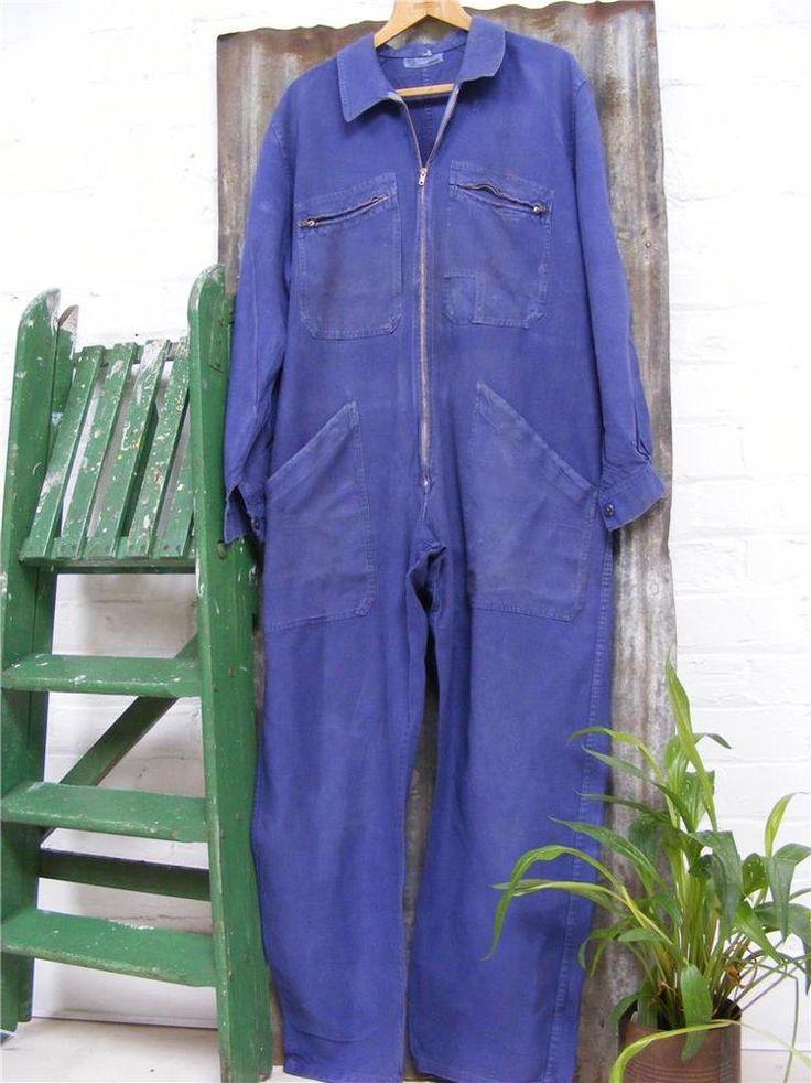 Indigo Vintage French Boiler suit mechanics industrial workwear overalls Chore #seelisting