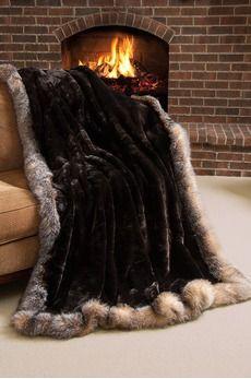 Winter Palace Sheared Beaver Fur Blanket (104 x 88 King) 10,449