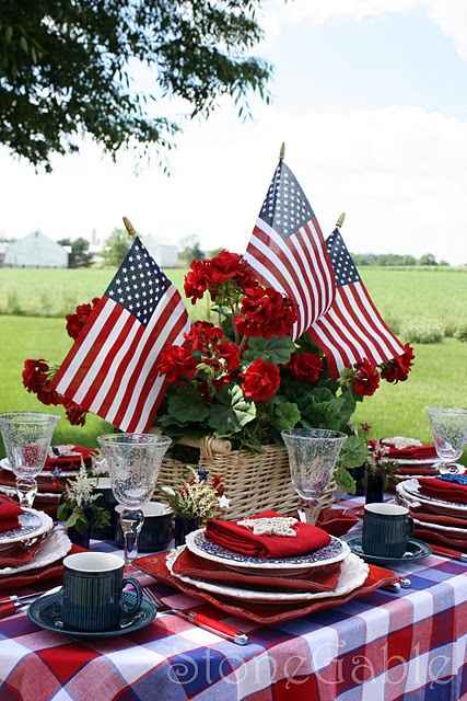 Memorial Day or Independence Day--almost too many plates for me, but this is still a great idea... love the centerpiece.