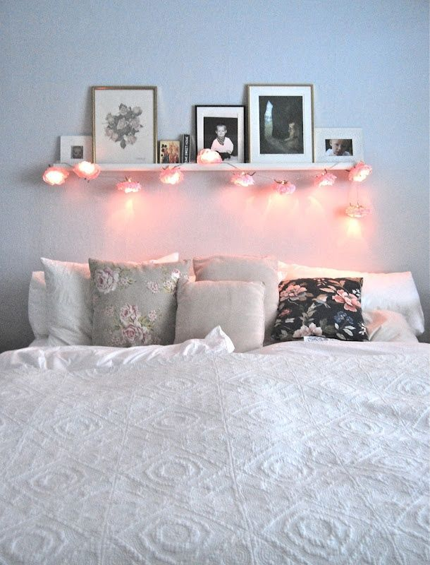Like the idea of shelf& fairy lights above bed