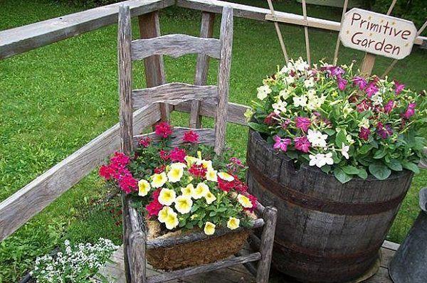Ideas para reciclar y decorar con sillas y plantas - Guía de MANUALIDADES