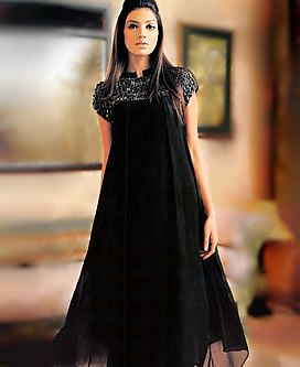 D3376 Black Partywear Anarkali India, Black Party Outfit India, Black Party Dresses India Pakistan Special Offer