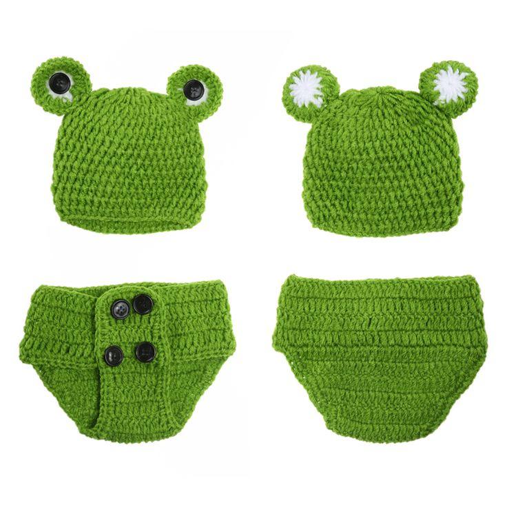 0-12 Mt Neugeborenen Baby Foto Requisiten Infant Baby Häkeln Frosch Hüte Gestrickte Tod Neugeborene Fotografie Props Infant Kostüm Outfi