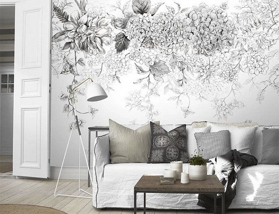 sketch flowers wallpaper black and white poetry floral. Black Bedroom Furniture Sets. Home Design Ideas