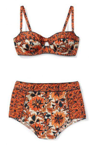 Vintage Floral Print Cami Bikini Set ORANGE: Swimwear   ZAFUL