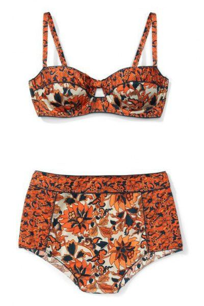 Vintage Floral Print Cami Bikini Set ORANGE: Swimwear | ZAFUL