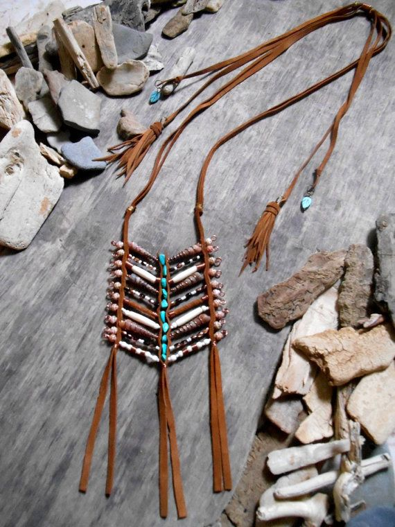 "Necklace inspiration ""NATIVE AMERICAN""  BREASTPLATE with bone beads, seed beads, glass beads, Turquoises stone beads, leather and shell"