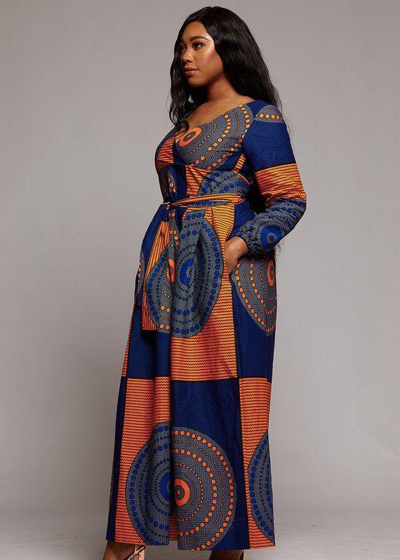 520506cd8f2 D IYANU Genet African Print Faux Wrap Maxi Dress (Yellow Blue Circles) Plus  Size S-XXL