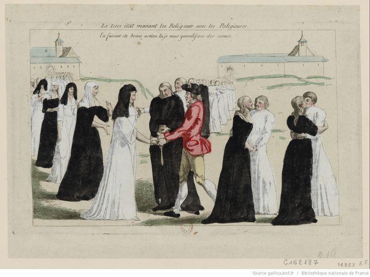 Le Tiers état mariant les religieux avec les religieuses : en faisant ste bonne action la je nous garantissons des cornes : [estampe] / [non identifié] | Gallica