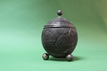 SILVER MOUNTED CARVED COCONUT ETROG CONTAINER