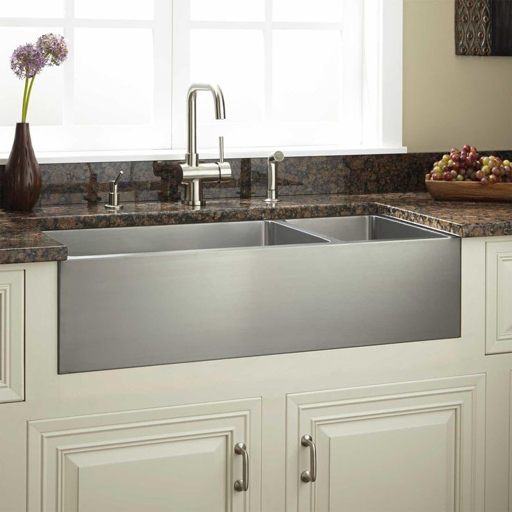 "36"" Optimum 70 30 fset Double Bowl Stainless Steel Farmhouse Sink"