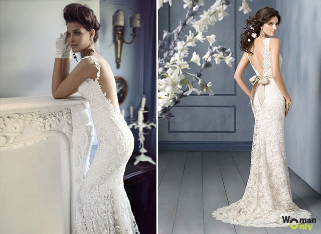 свадебные платья с открытой спиной фото