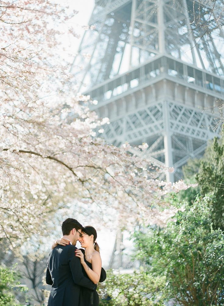 Cherry blossom engagement, Paris