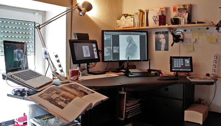 awesome work station for digital work. http://fantasiox.blogspot.com/2013/05/setting-up-wacom-cintiq-13hd-with.html