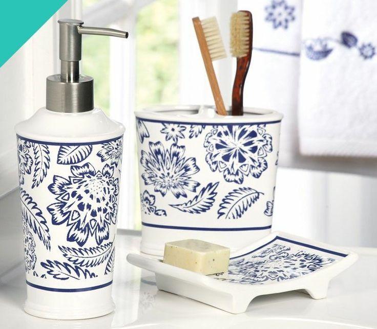 New 3pc Modern Blue White Bathroom Accessory Set Toothbrush Holder Lotion Pump Bathroom