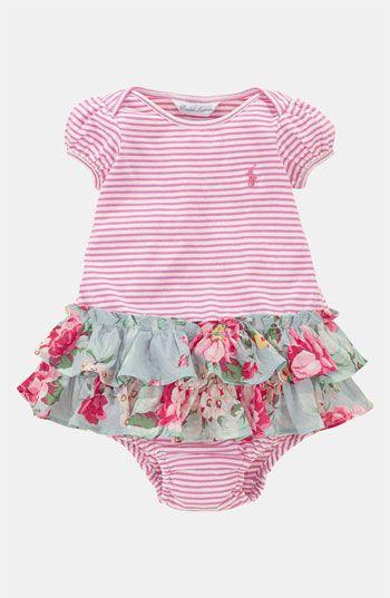 Ralph Lauren Stripe Dress & Bloomers (Infant)