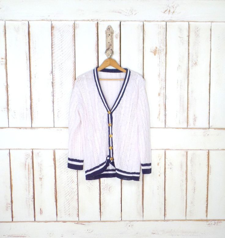 90s vintage white/navy blue striped nautical cardigan sweater/white cable knit sweater/basic/minimalist/minimal by GreenCnynMercantile on Etsy