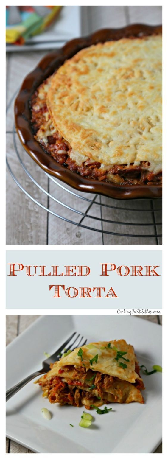 This Pulled Pork Torta from CookingInStilettos.com takes leftovers to delicious heights with leftover pulled pork with caramelized onions layered with fire roasted tomatoes, Monterey Jack cheese and flour tortillas. This recipe will be a family favorite | @CookInStilettos