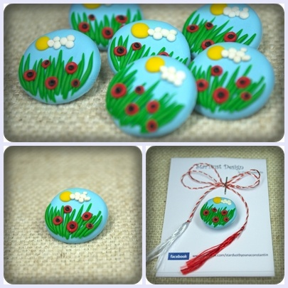 Field of poppies - polymer clay brooch