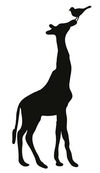.giraf met vogel