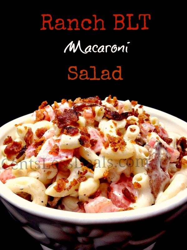 Ingredients  1 lb macaroni noodles, cooked and drained 1 bottle Kraft Ranch dressing  3 medium tomatoes  1/2 lb bacon, cooked and crumbled  Instructions  1. In a large mixing bowl add all ingredients.  2. Stir well.  3. Refrigerate to let flavors marinate.  4. Enjoy!!