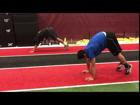 TP2 athletes Dante and Pedro doing an exercise called the inchworm. This exercise is used to help build muscular strength and endurance in the entire body, with an emphasis on the shoulder and core. #Parisi Speed School