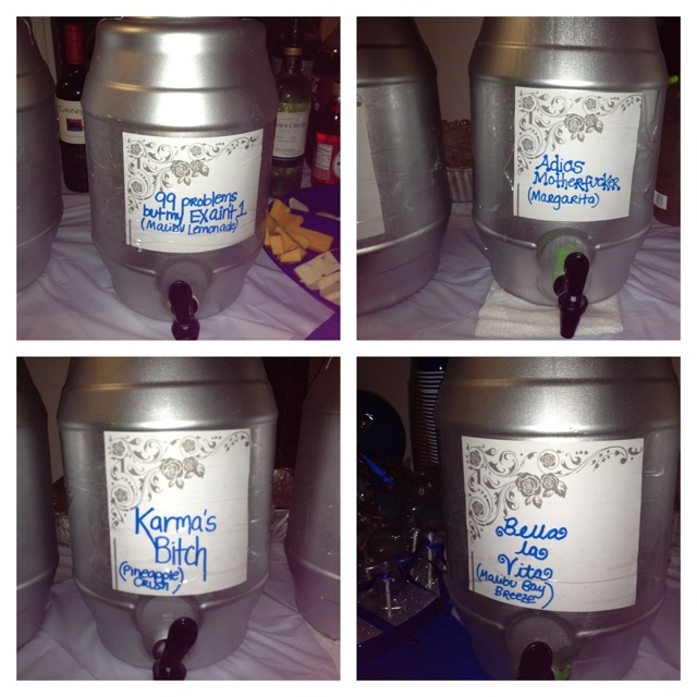 Divorce Party Drinks! Cheap plastic drink barrels spray painted then named!!!
