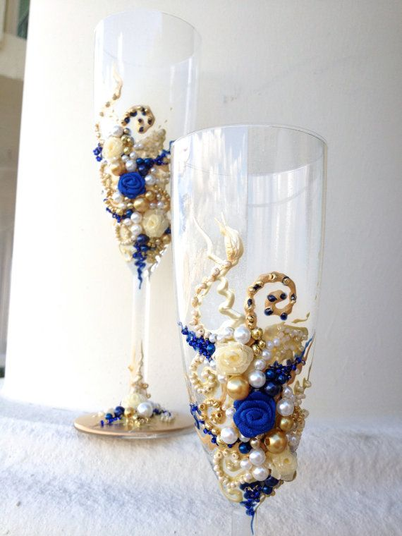 Hand Decorated Wedding Champagne Glasses Elegant Toasting Flutes In