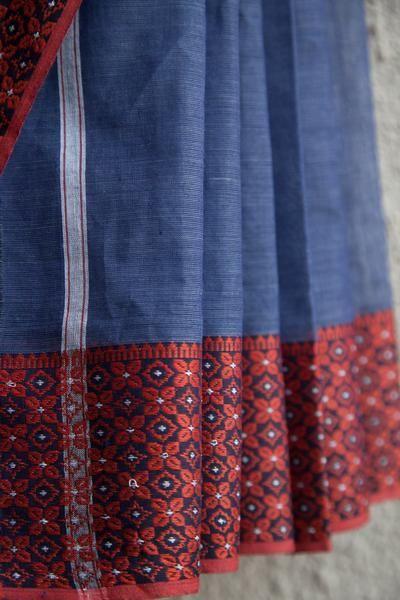 Steel Blue Begumpuri Saree