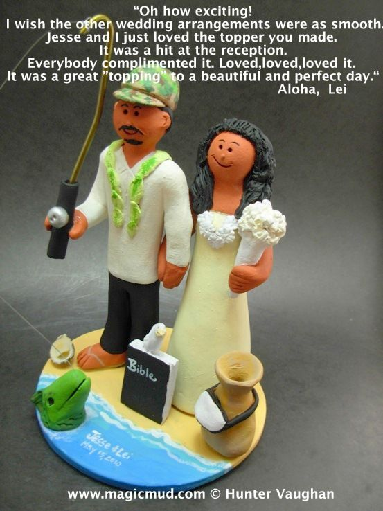 Hawaiian Wedding cake topper Custom wedding cake toppers by www.magicmud.com 1 800 231 9814 magicmud@magicmud... blog.magicmud.com twitter.com/... www.facebook.com/... $235 what brides had to say about their commissioned wedding figurines #wedding #cake #toppers #custom #personalized #Groom #bride #anniversary #birthday#weddingcaketoppers#cake-toppers#figurine#gift#wedding-cake-toppers