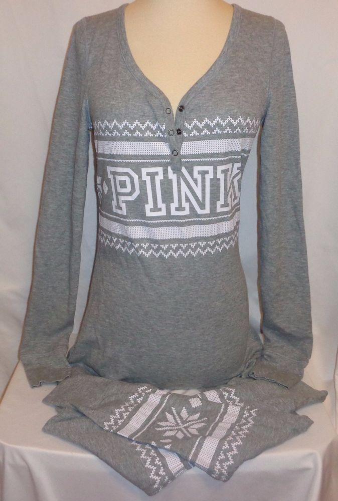 Victorias Secret PINK Pajamas M Grey One Piece Fairisle Long Jane/John Thermal | Clothing, Shoes & Accessories, Women's Clothing, Intimates & Sleep | eBay!