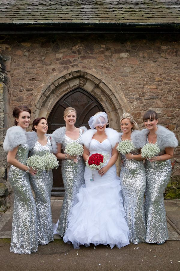 Winter wedding bridesmaid dresses pictures