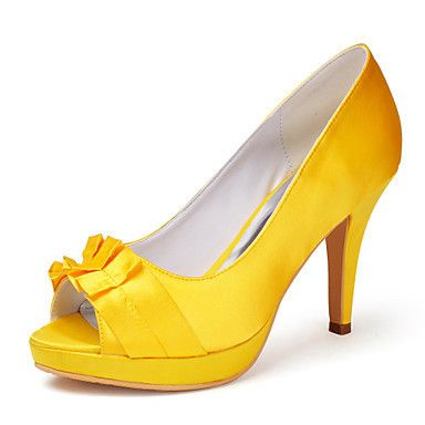 Womens Yellow Satin High Heel From Eleganto®
