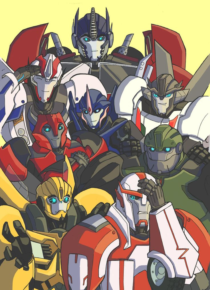 Team of autobots by RedShrike.deviantart.com on @deviantART. Out of all of the spin-offs and generations, Transformers Prime is my favorite.
