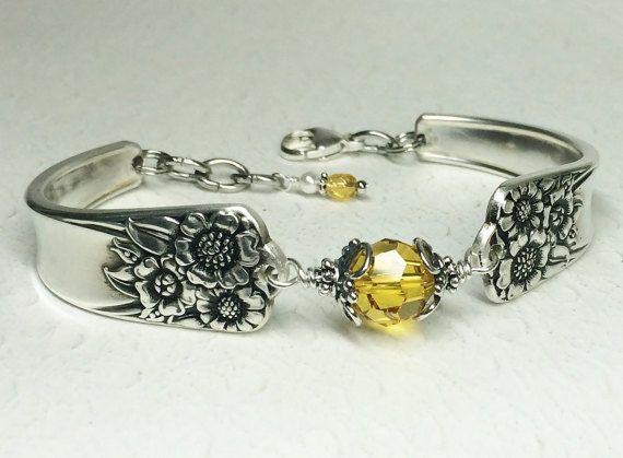 Sunflower Spoon Bracelet Yellow Swarovski by SpoonfestJewelry