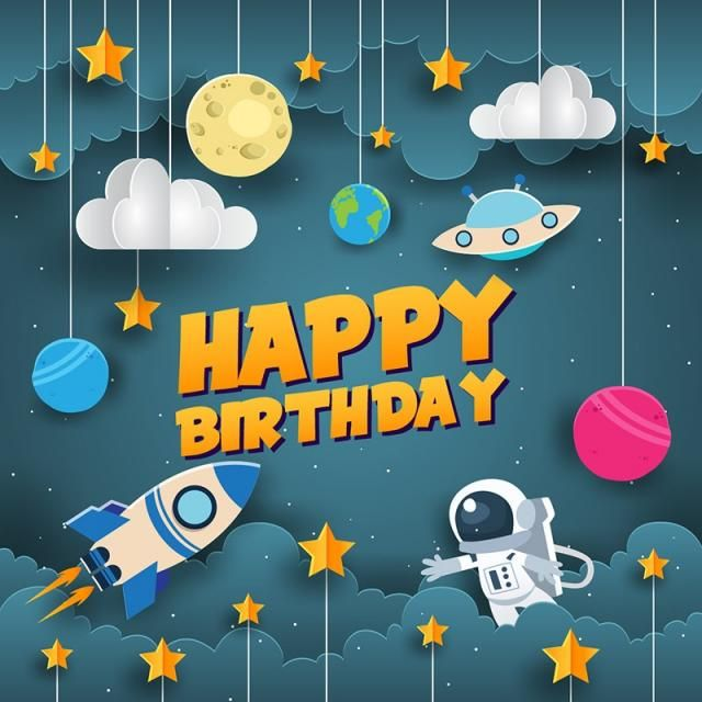 Art Style Space Theme Happy Birthday Card Illustration Birthday Celebration Birth Png And Vector With Transparent Background For Free Download Birthday Cartoon Birthday Illustration Happy Birthday Posters