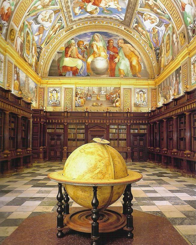 La Real Biblioteca del Monasterio de El Escorial (Madrid). Frescos del testero septentrional. 1586-91. Varios artistas. Esfera celeste, c. 1660., obra de Johannes Blaeu