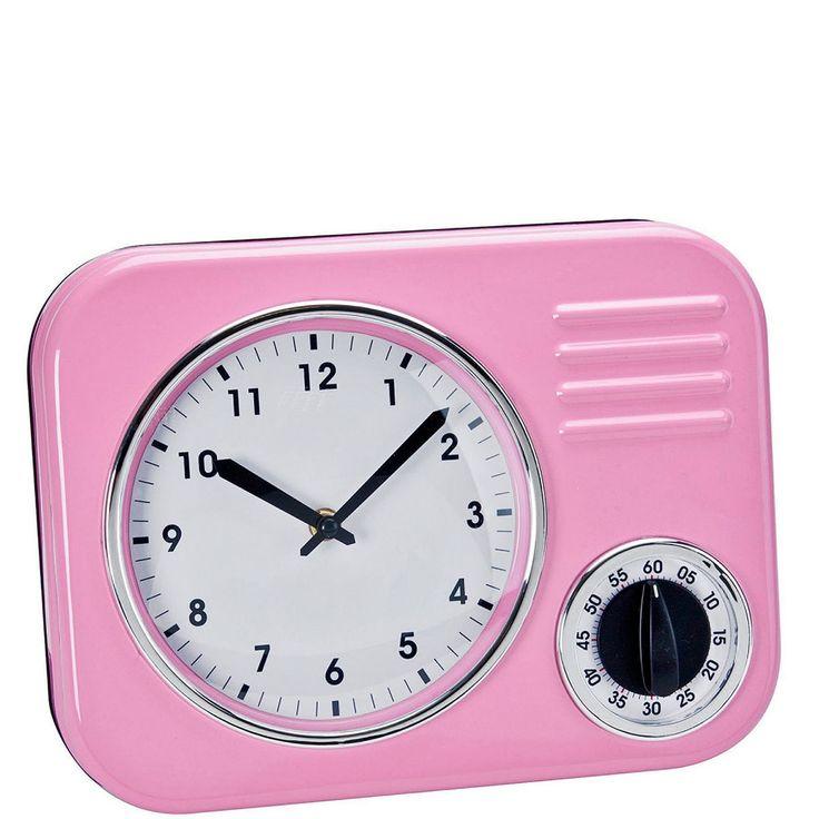 FIFTIES FOREVER Kuchyňské retro hodiny - růžová / retro kitchen clock