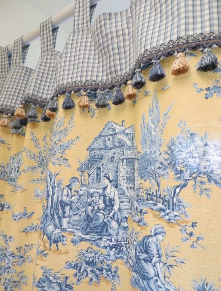 Custom Made French Toile Shower Curtain.