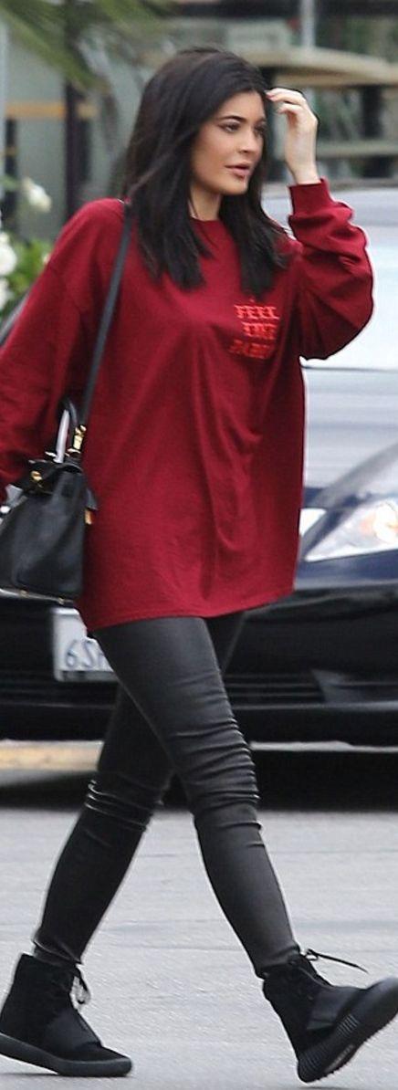 Kylie Jenner: Sweatshirt – Kayne West Purse – Hermes Shoes – Adidas Yeezy