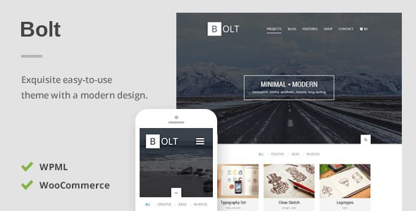 Bolt - A Delightful Responsive WordPress Theme   http://themeforest.net/item/bolt-a-delightful-responsive-wordpress-theme/7710044?ref=damiamio           Responsive and Mobile Ready    You can rest assured that every pixel will respond as it should no matter if your visitors are on a desktop, tablet or down to the phone in your pocket.              Created: 15May14 LastUpdate: 17July14 Columns: 4+ CompatibleBrowsers: IE9 #IE10 #IE11 #Firefox #Safari #Opera #Chrome SoftwareVersion…