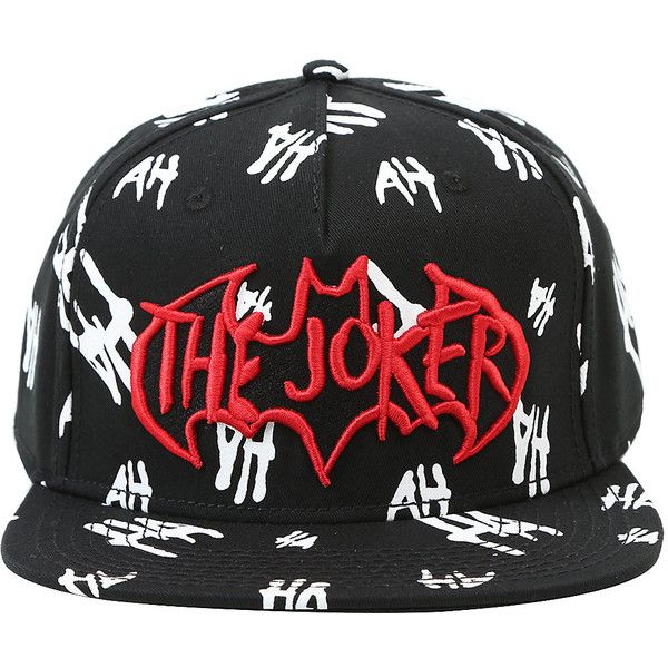 DC Comics The Dark Knight The Joker Snapback Hat Hot Topic ($20) ❤ liked on Polyvore featuring accessories, hats, cotton hats, adjustable snapback hats, embroidered snapbacks, red snapback and embroidered snapback hats