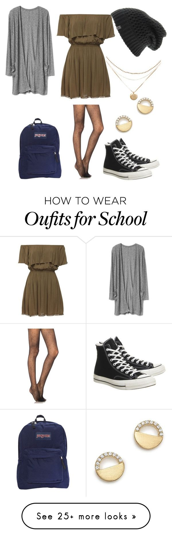 """""""Untitled #1225"""" by the-cute-psycho21 on Polyvore featuring Pretty Polly, Converse, JanSport, The North Face and Bloomingdale's"""