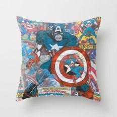 Vintage Comic Capt America Throw Pillow