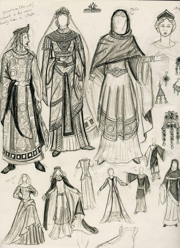 Byzantine clothing sketch by ~LordShadowblade on deviantART