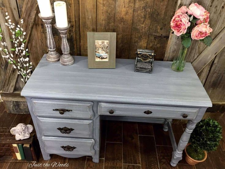 Gray Desk Makeover Painted In Layers Of Shades Of Gray Grey